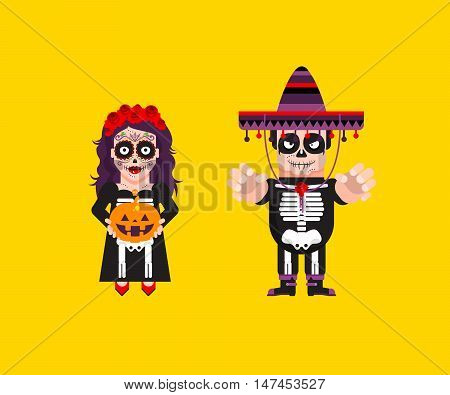 Stock vector illustration a goddess Katrina with Dead Mexican character for halloween in a flat style