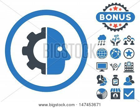 Cyborg icon with bonus images. Vector illustration style is flat iconic bicolor symbols, smooth blue colors, white background.