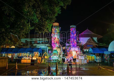 LAMPHUN THAILAND- SEPTEMBER 26 : Salakyom Lanna tradition at Wat Phra That Hariphunchai on September 14 2016 in Lamphun Thailand.