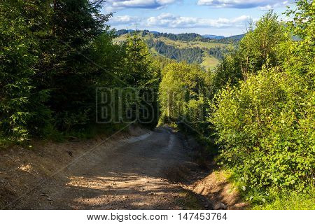 Dirt road descent from the mountain to the settlement in Carpathians Ukraine