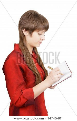 Attractive Young Woman With Pen