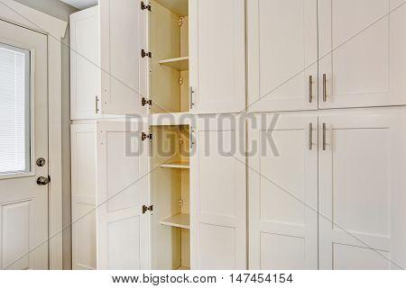 White Big Wooden Storage Combination For Kitchen Room