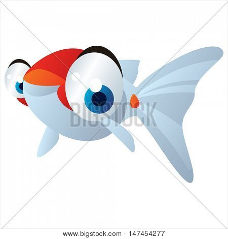 vector cartoon cute sealife mascot. Funny colorful cool illustration of happy Gold Fish