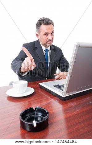 Man At Office Showing No To Smoking