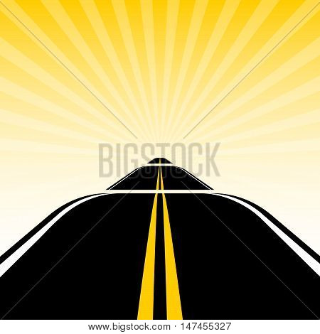 road on the background of sun rays
