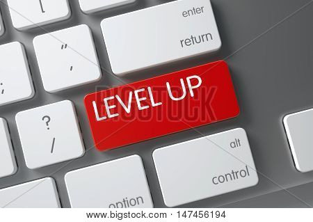 Level Up Concept Slim Aluminum Keyboard with Level Up on Red Enter Keypad Background, Selected Focus. 3D Render.