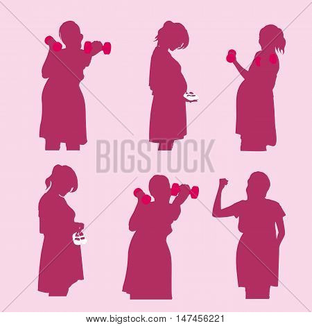 silhouette of pregnant woman hold dumbbell isolated on pink background great for your health design