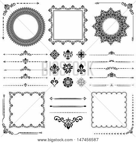 Vintage black and white set of classic elements. Different vector elements for decoration and design frames, cards, menus, backgrounds and monograms. Collection of floral ornaments