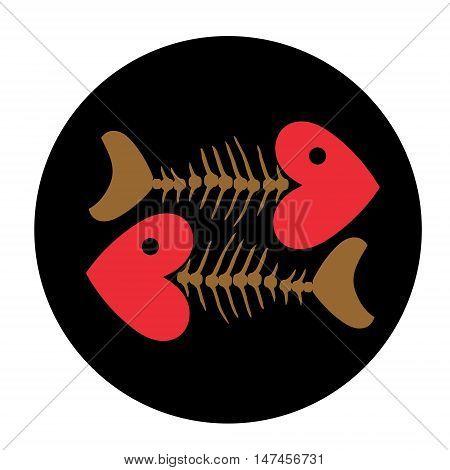 Two mackerels on dish. Heart and Fish bone skeleton symbol vector icon logo design.