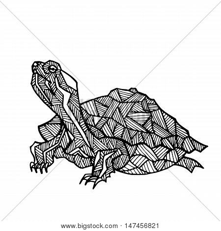 Vector hand drawn illustration of turtle. Black silhouette of tortoise. Turtle line art for coloring.