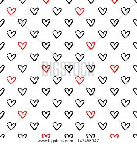 Heart signs seamless pattern. Seamless pattern with hand drawn heart shapes. Charcoal doodles. Charcoal scribble seamless pattern. Heart background