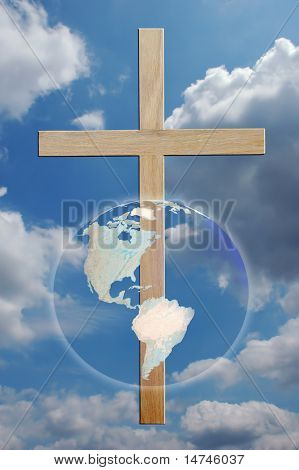 The world and cross over sky