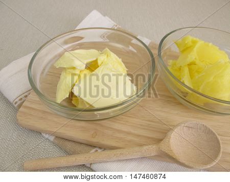 Clarified butter and butter in small bowls
