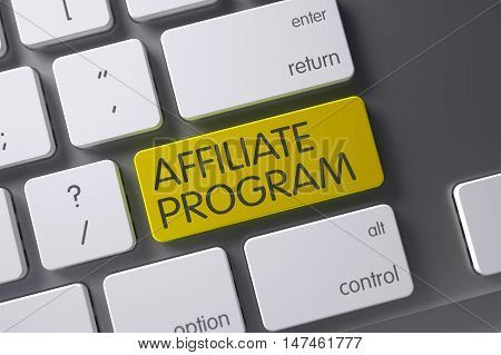 Concept of Affiliate Program, with Affiliate Program on Yellow Enter Button on Laptop Keyboard. 3D Illustration.