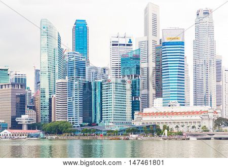 Singapore, 14 January 2016 - Landscape of the financial district and business building