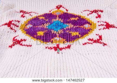 striped colorful wool texture handmade patten closeup macro blue red yellow  purple white ornament
