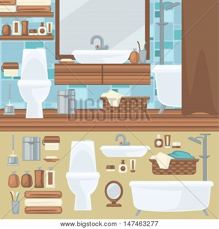 Bathroom interior design. Accessories and furniture set. Elements for bathroom: bath, toilet and shower, mirror and sink. Flat style. Vector illustration isolated