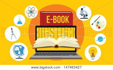 electronic book ebook with laptop and yellow background vector illustration