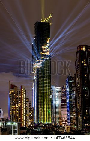 Bangkok Thailand- August 29 2016: The light and sound show of officially grand opening Mahanakhon building is the tallest building in Thailand and located on central business district of Bangkok.