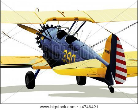 PT-17 Stearman on the ground - Vector