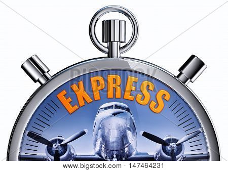 3D rendering of a stop watch with a express icon