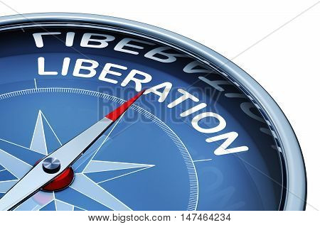 3D rendering of a compass with a liberation icon