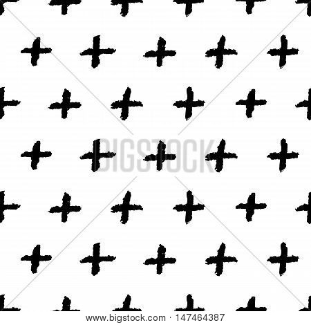 Plus signs seamless pattern. Seamless pattern with hand drawn cross shapes. Charcoal doodles. Black charcoal texture.