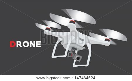 remote control drone with camera flying vector illustration