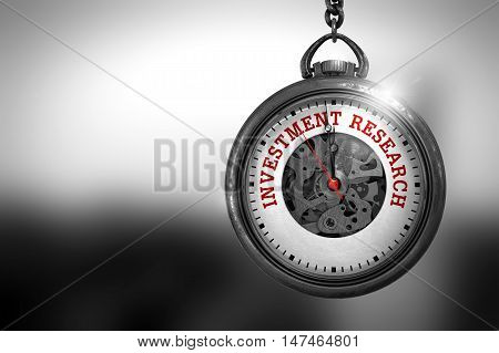 Pocket Watch with Investment Research Text on the Face. Investment Research Close Up of Red Text on the Vintage Pocket Clock Face. 3D Rendering.