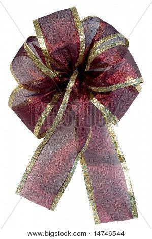 Christmas Burgundy Bow over white background (With Clipping Path)
