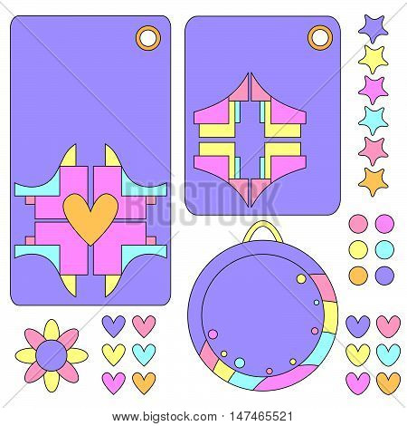 Colorful tag collection with hearts and flowers isolated over white background