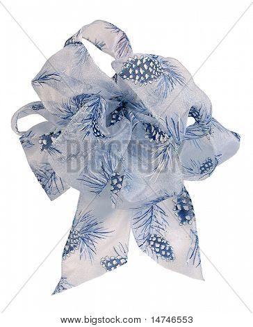 Christmas blue ribbon bow with pine cones over white background (With Clipping Path)