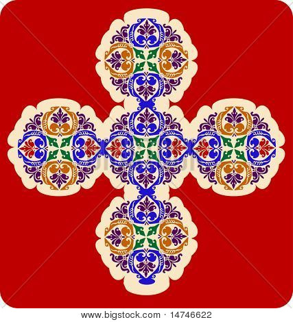 Decorative Cross with leaf patterns - VECTOR