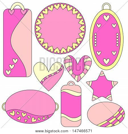 Romantic pink and yellow tags labels hearts and star