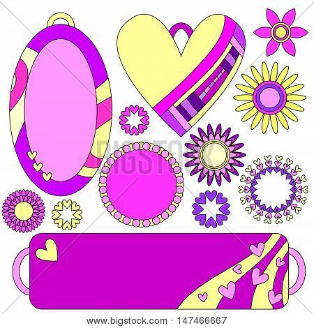 Pink and yellow romantic tags labels flowers and hearts