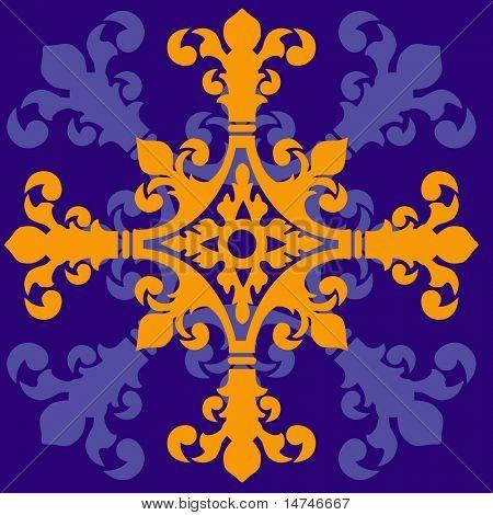 Mittelalterliche Kreuz mit isometrischen Muster - Vektor