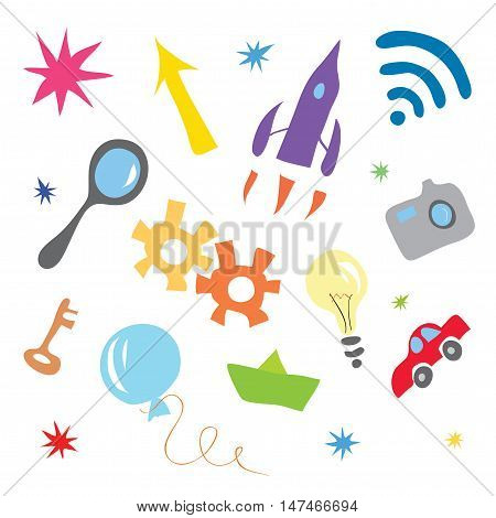 vector background with lots of different colored objects / formation of the concept of simple ideas