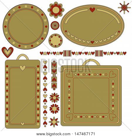 Romantic tags, labels, flowers and hearts isolated over white background
