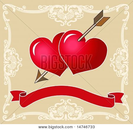 Two Red Hearts pierced together by Cupid's arrow. Banner to add text. VECTOR