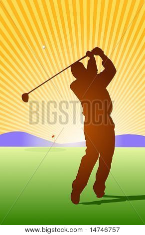 Golfer hitting ball toward the green - VECTOR