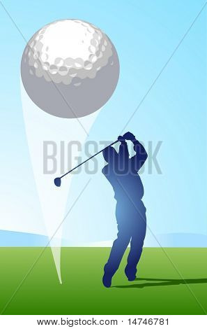 Golfer hitting ball that occupies a large part of the foreground creates a strong graphic impact - VECTOR
