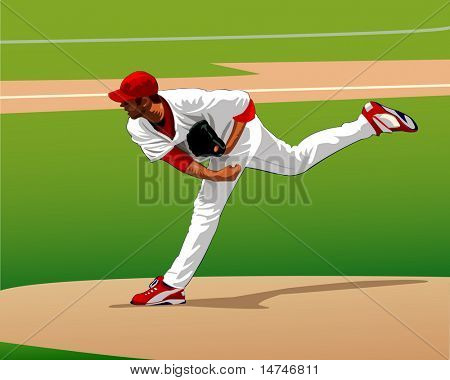 Baseball pitcher throwing a pitch to the plate - VECTOR