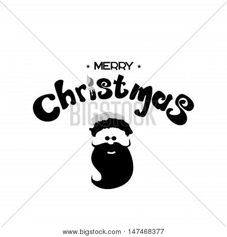 Merry Christmas lettering design. with image of Santa. Vector illustration