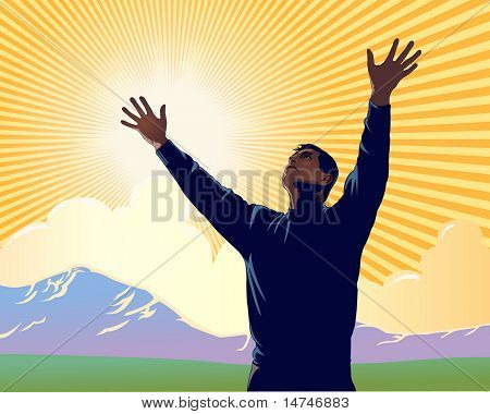Man with arms extended toward heaven expressing joy, gratitude and worship - VECTOR