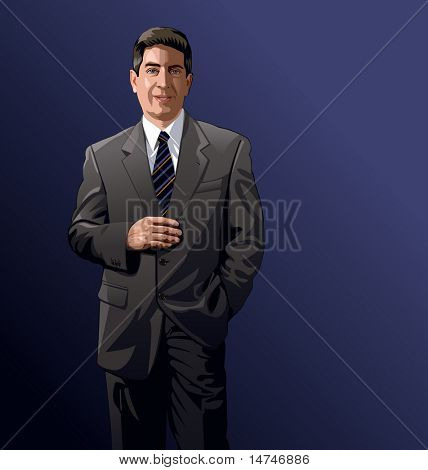 Businessman with suit and tie standing confidently - VECTOR