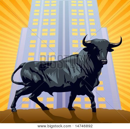 The Bull, the symbol of wall street over a building and sunburst