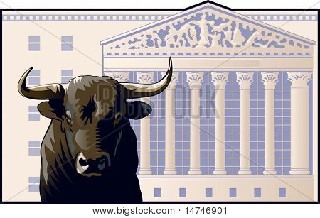 Bull in front of the New York Stock Exchange building