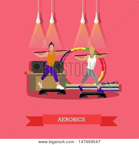 Two young girls doing aerobics to the music in fitness studio. Around sports equipment, hula Hoop, step-up platform, mats, tape recorder. Sports vector illustration in flat style design.