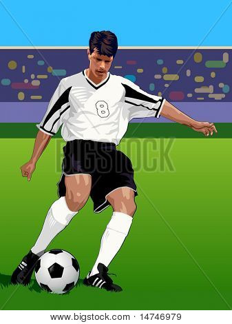 Soccer Player kicking during a game - VECTOR