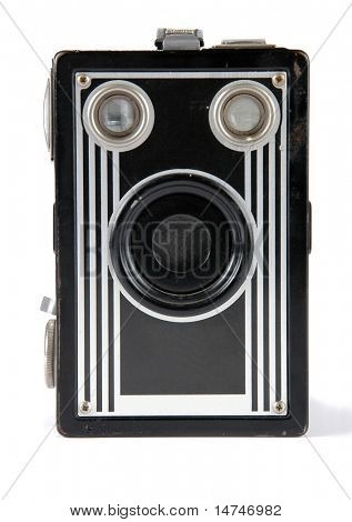 Front view of vintage camera over a white background